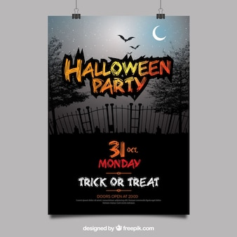 Halloween party poster with classic cemetery