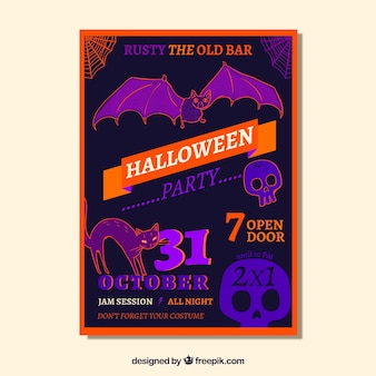 Halloween party poster with classic elements