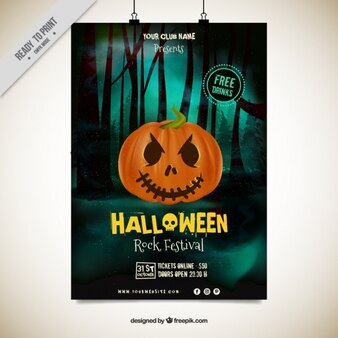 Halloween party poster with evil pumpkin