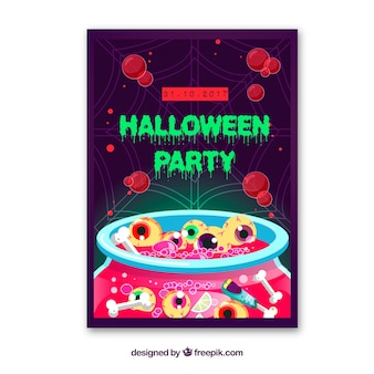 Halloween party poster with eyes