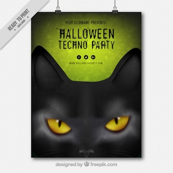 Halloween party poster with feline look