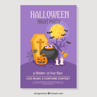 Halloween party poster with flat elements