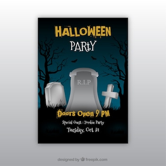 Halloween party poster with gravestones
