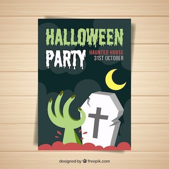 Halloween party poster with hand and tomb