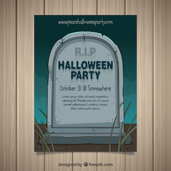 Halloween party poster with hand drawn gravestone