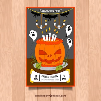 Halloween party poster with hand drawn pumpkin