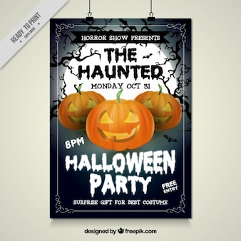 Halloween party poster with haunted pumpkins