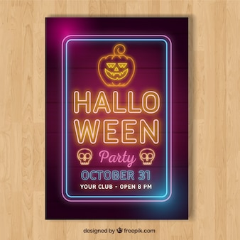 Halloween party poster with neon lights