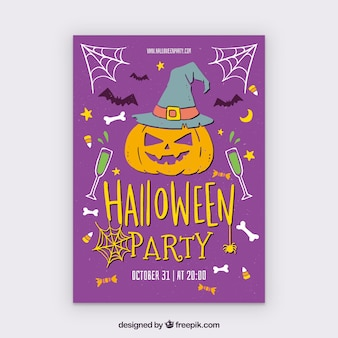 Halloween party poster with pumpkin and other elements