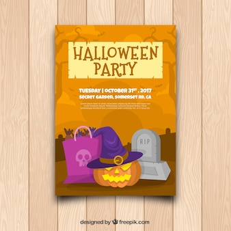 Halloween party poster with pumpkin and tomb