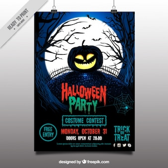 Halloween party poster with pumpkin in the cemetery