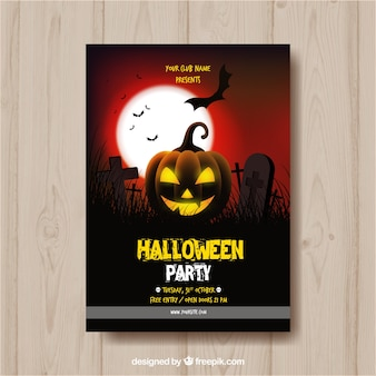 Halloween party poster with pumpkin lit