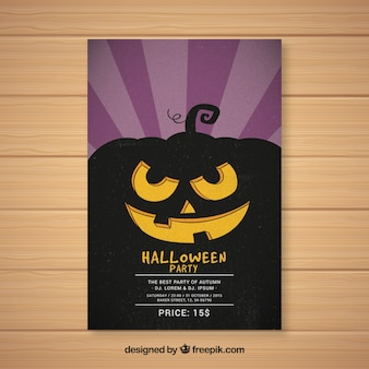 Halloween party poster with pumpkin silhouette