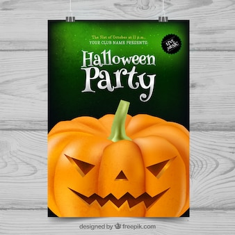 Halloween party poster with pumpkin