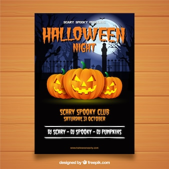 Halloween party poster with pumpkins