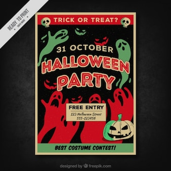 Halloween party poster with red and green ghosts