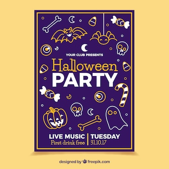 Halloween party poster with sketches