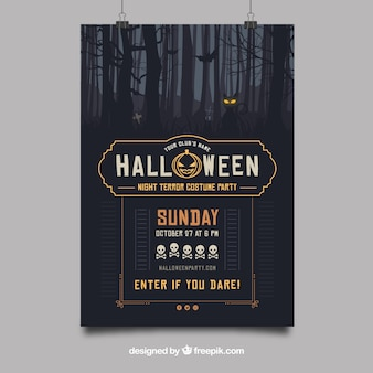Halloween party poster with tenebrous forest