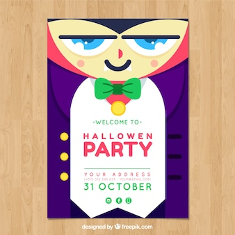 Halloween party poster with vampire in flat design