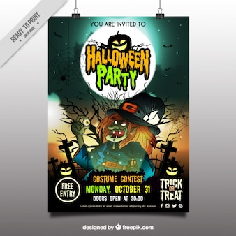 Halloween party poster with witch drawing