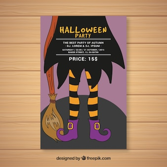 Halloween party poster with witch legs