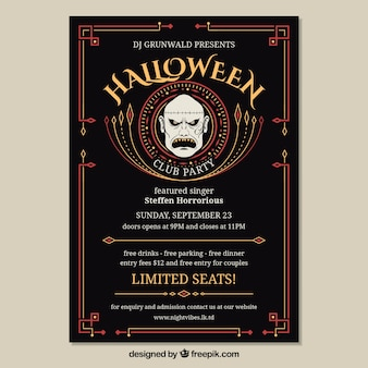 Halloween party poster with zombi face