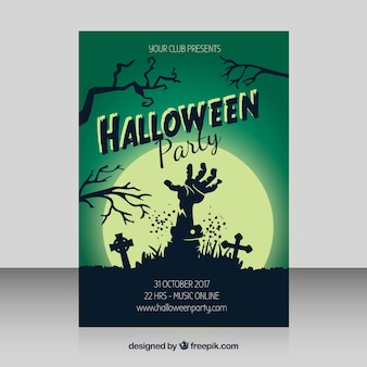 Halloween party poster with zombie hand and moon