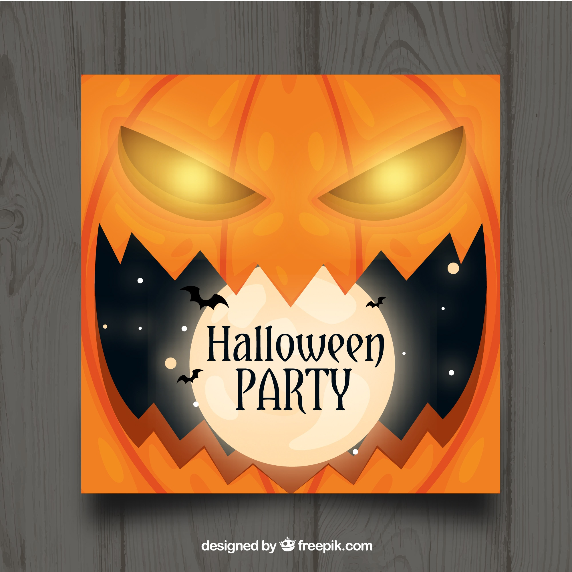 Halloween party template with pumpkin