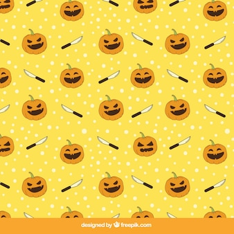 Halloween pattern of pumpkin and knife