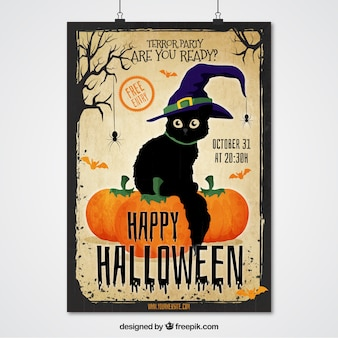 Halloween poster cat with witch hat