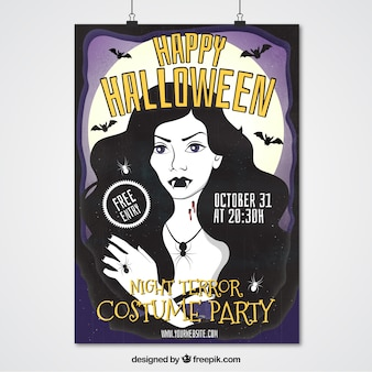 Halloween poster of hand-drawn girl with fanges