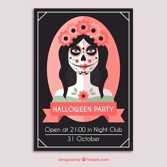 Halloween poster with a catrina skull