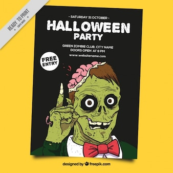 Halloween poster with a green zombie