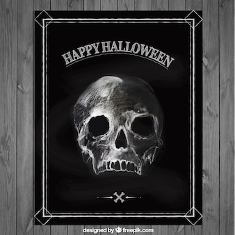 Halloween poster with a hand drawn skull