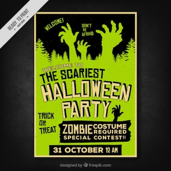 Halloween poster with creepy hands in retro style