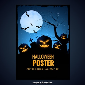Halloween poster with creepy pumpkin