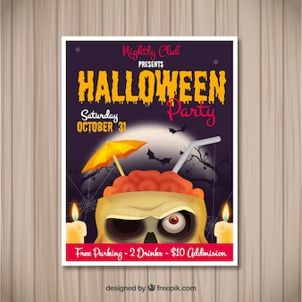 Halloween poster with funny zombi