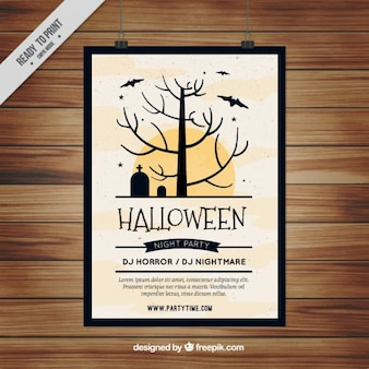 Halloween poster with tree in the cemetery