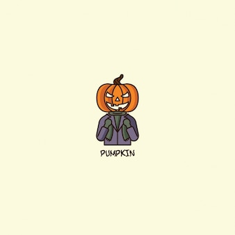 Halloween pumpkin logo on beige background