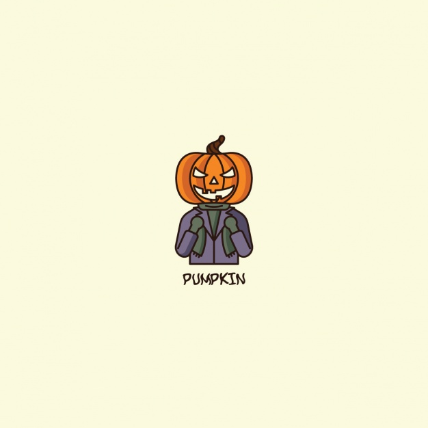 Halloween pumpkin logo on beige background