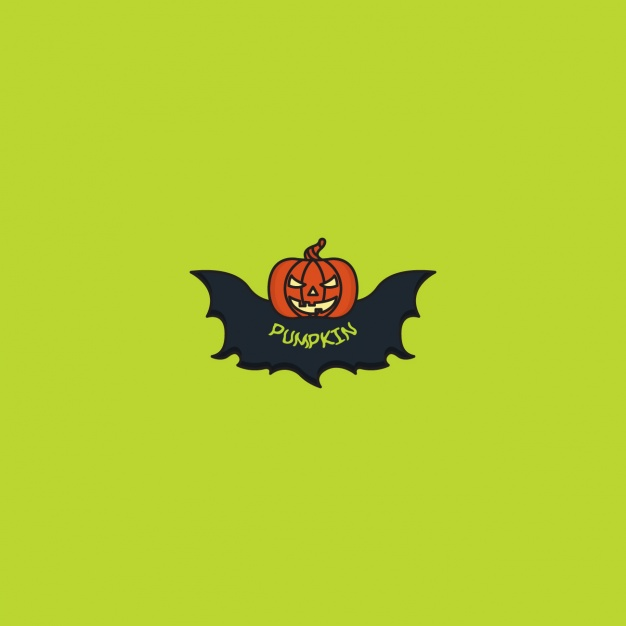 Halloween pumpkin logo on green background