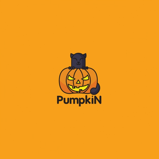 Halloween pumpkin logo on orange background