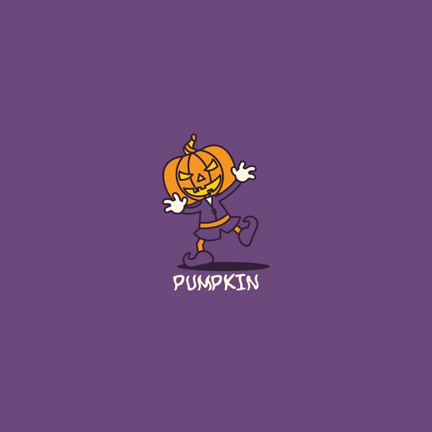 Halloween pumpkin logo on purple background
