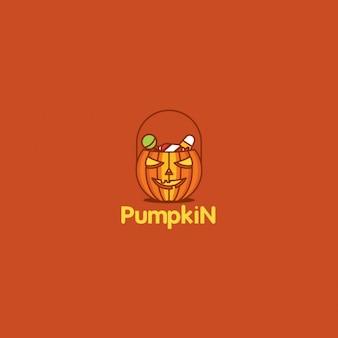 Halloween pumpkin logo on red background