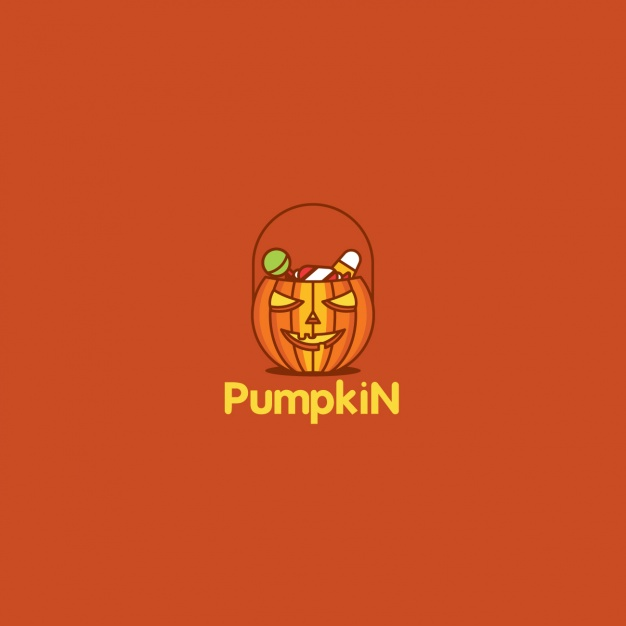 Halloween pumpkin logo on red background