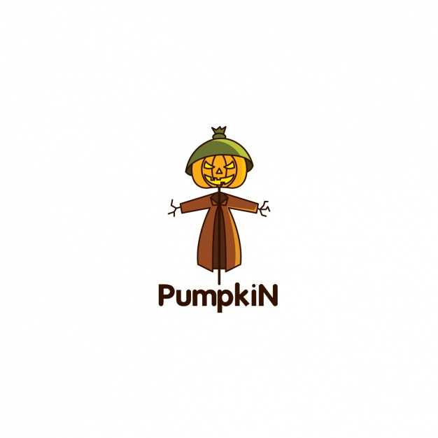 Halloween pumpkin logo on white background
