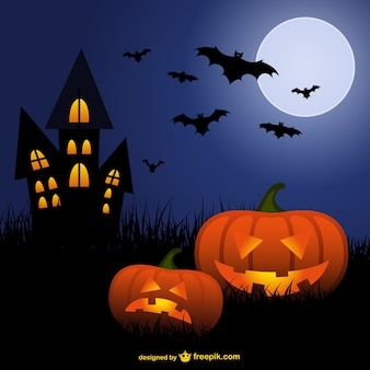 Halloween pumpkins and bats cartoon