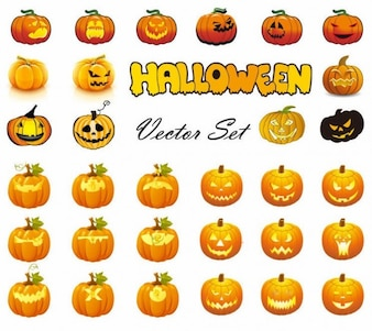 halloween pumpkins mixed mega vector collection