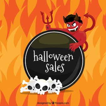 Halloween sale background with demon and flames