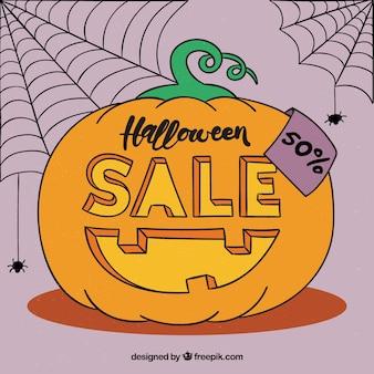 Halloween sale background with pumpkin design
